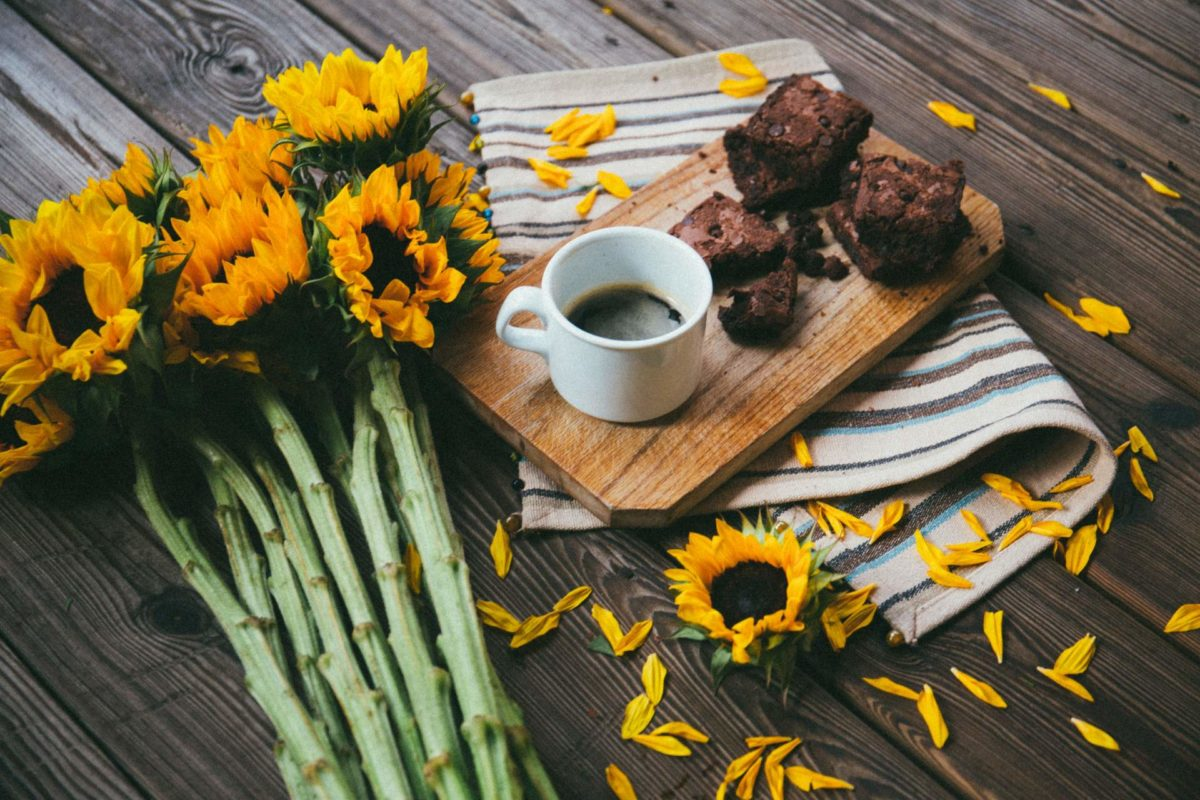 Black Bean Chocolate Brownies with coffee and sunflowers